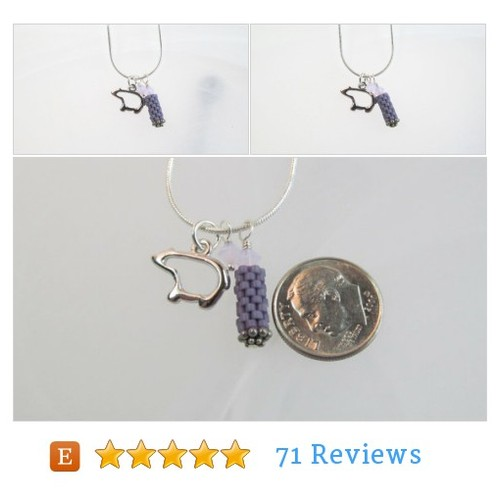 Bear charm neckalce silvertone small, purple beaded bead, cystals #Jewelry #Necklace #CharmNecklace #etsy #PromoteEtsy #PictureVideo @SharePicVideo