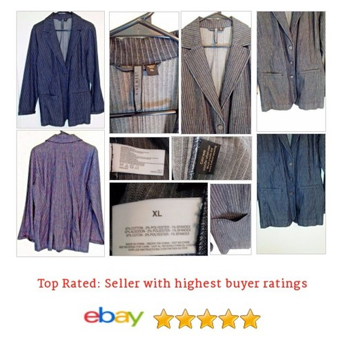 Nine West Women's XL Pinstripe Denim 3 Button #Blazer Jean coat Bust 22 Jacket | eBay #Suit #NineWest #etsy #PromoteEbay #PictureVideo @SharePicVideo
