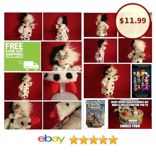 "DISNEY-CRUELLA DE VILLE-101 DALMATIONS-SPIFY BEAN PLUSH-8""-DISNEY STORE-NEW/TAGS 