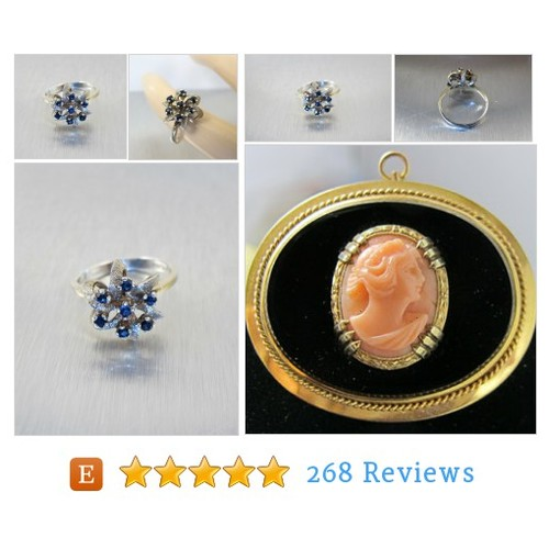 Art Deco Sapphire Flower Ring, Sterling #etsy @tonettestreasur  #etsy #PromoteEtsy #PictureVideo @SharePicVideo