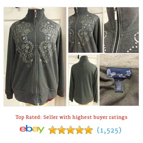 Susan Graver Style Gray W/ Silver Metallic Flowers Full Zip Jacket #ebay @bluegrass_sales  #etsy #PromoteEbay #PictureVideo @SharePicVideo