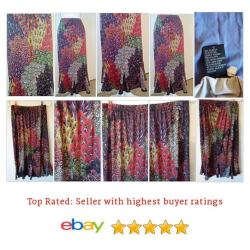 Miss Ashley #Skirt Size Small Peacock Print Multi Color Long | eBay #FullSkirt #MissAshley #etsy #PromoteEbay #PictureVideo @SharePicVideo