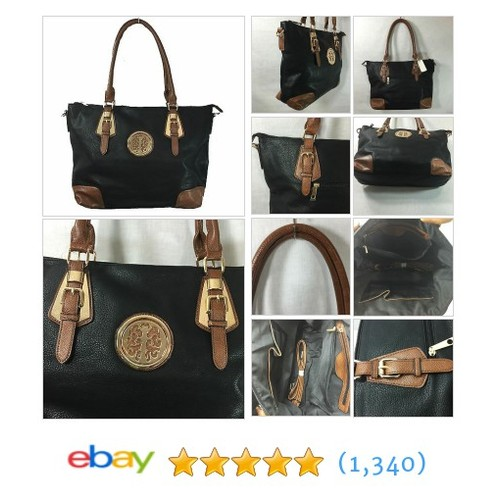 "Women's Large Handbag High Quality Black Brown Faux Leather Tote 18""x12.5""x4.5""  