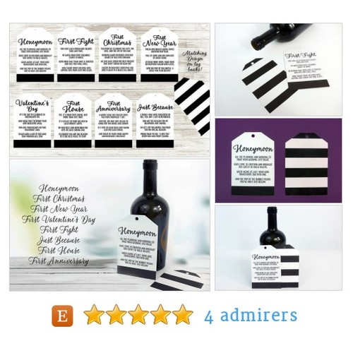 #Gift #Shower #Wedding Wine Tags Handsome Stripe Design Original Poems for Special FIRST TIMES Newlyweds #etsy #PromoteEtsy #PictureVideo @SharePicVideo