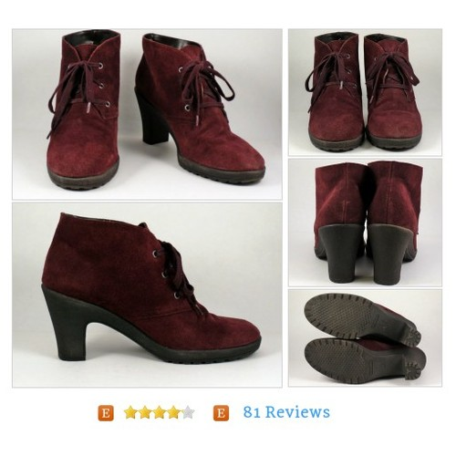 Womens Brown Suede Ankle Boots Sz 11 Granny Punk Heels AEROSOLES #Shoe #Boot #WomensShoe #etsy #PromoteEtsy #PictureVideo @SharePicVideo