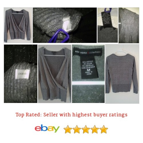 New York & #Company Sweater Silver metallic faux wrap glitter | eBay #NewYork #Sweater #etsy #PromoteEbay #PictureVideo @SharePicVideo