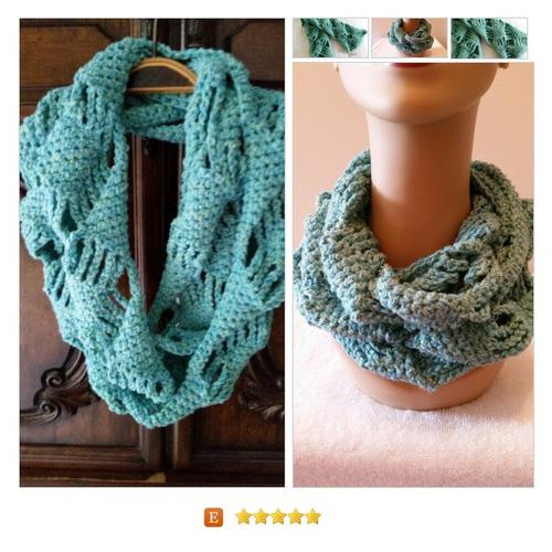 #Scarf Infinity Cowl Diamond Turquoise Crocheted #Wrap #Accessory  www.softtotouch.info #etsy #PromoteEtsy #PictureVideo @SharePicVideo