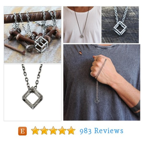 Mens Silver Necklace Cube Pendant Man #etsy @cdjewellery  #etsy #PromoteEtsy #PictureVideo @SharePicVideo