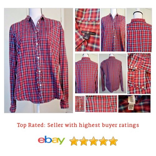 Gap Women's Size 14 Plaid Ruffle Shirt Red White Blue Cotton 100% Cotton Large | eBay #GAP #Top #Blouse #etsy #PromoteEbay #PictureVideo @SharePicVideo