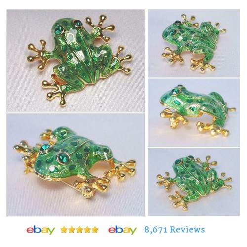 Frog Brooch #Pin Accented with Emerald Green Crystals #Brooch #FashionJewelry #etsy #PromoteEbay #PictureVideo @SharePicVideo