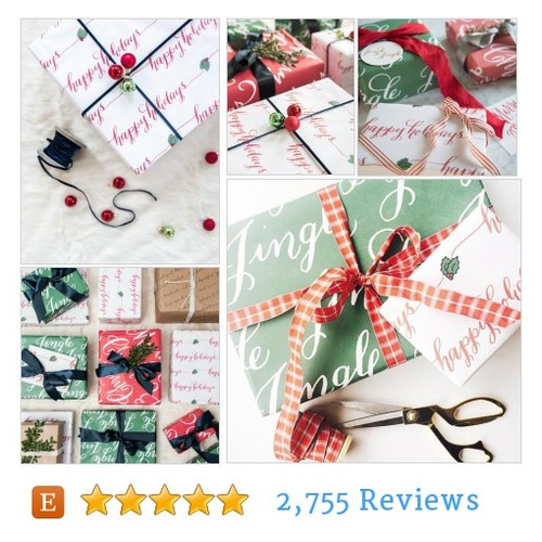 Happy Holidays Holiday Gift Wrap - Set of #etsy @lhcalligraphy  #etsy #PromoteEtsy #PictureVideo @SharePicVideo