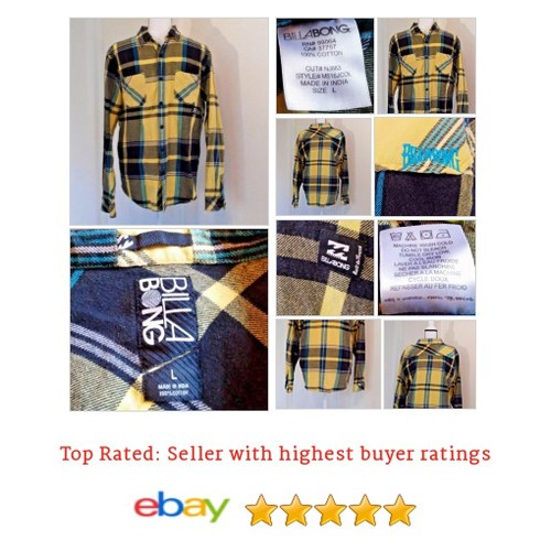 BILLABONG LS Mens Size Large L Yellow Black Blue #Plaid Shirt #Surf #Billabong  #CasualShirt #etsy #PromoteEbay #PictureVideo @SharePicVideo