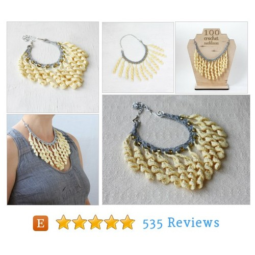 Fringe bib necklace in light yellow and #etsy @boorashka  #etsy #PromoteEtsy #PictureVideo @SharePicVideo