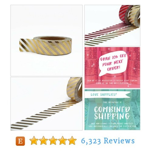 Gold Foil Washi Tape with Diagonal Stripe #etsy @unwrapcolour  #etsy #PromoteEtsy #PictureVideo @SharePicVideo