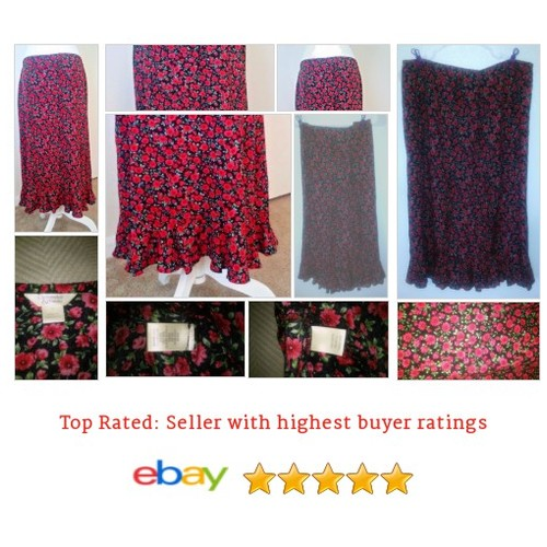 Christopher & Banks Red Flower #Skirt Long Size 12 Black Backdrop Cottage Style | eBay #Bank #Boho #etsy #PromoteEbay #PictureVideo @SharePicVideo