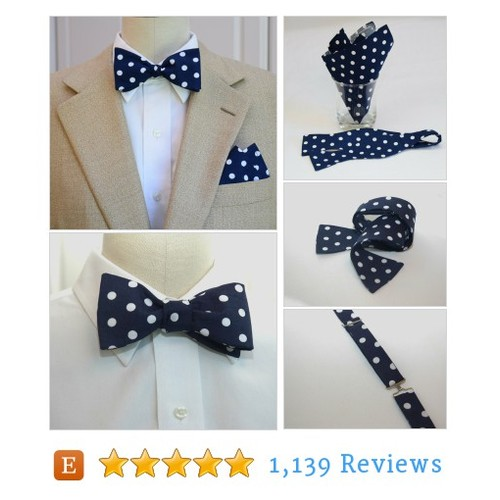 Men's Pocket Square and Bow Tie in navy #etsy @cejdriggs  #etsy #PromoteEtsy #PictureVideo @SharePicVideo