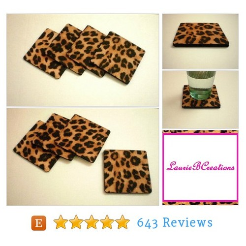 ANIMAL PRINT COASTERS - Set of 4 Large #etsy @laurieburnett  #etsy #PromoteEtsy #PictureVideo @SharePicVideo