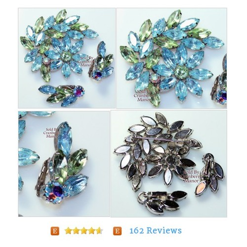 Rhinestone #Brooch & Earrings Pin Blue Green Demi Parure on Silver, Spring Hat Purse Scarf Accessories, Vintage 1960s Fashion Jewelry J987 #Jewelry #cranberrymanor #etsy #PromoteEtsy #PictureVideo @SharePicVideo