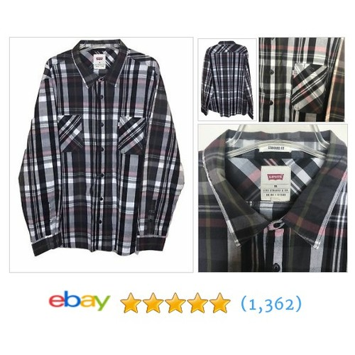 Levi's Mens Long Sleeve Black White Red Yellow Plaid Long Sleeve Shirt XXL  | eBay #etsy #PromoteEbay #PictureVideo @SharePicVideo
