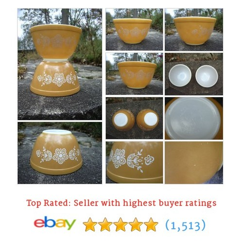 Pyrex Mixing Bowls Butterfly Gold 1 Vintage Set of 2 Gold White 1.5 #ebay @mamaguzzi  #etsy #PromoteEbay #PictureVideo @SharePicVideo