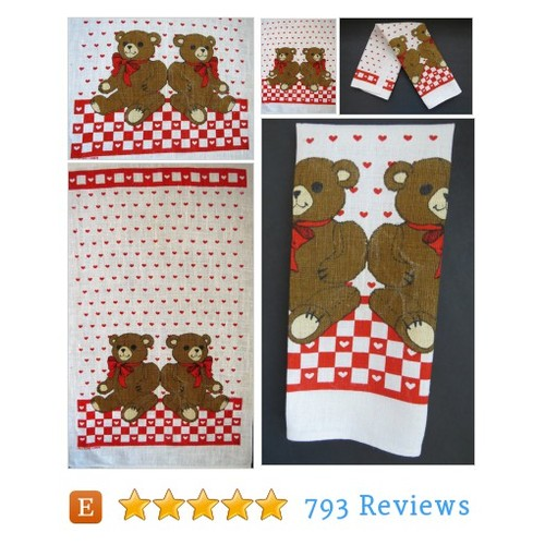Vintage Teddy Bears Red Hearts Linen Tea #etsy @shabbyshopgirls  #etsy #PromoteEtsy #PictureVideo @SharePicVideo