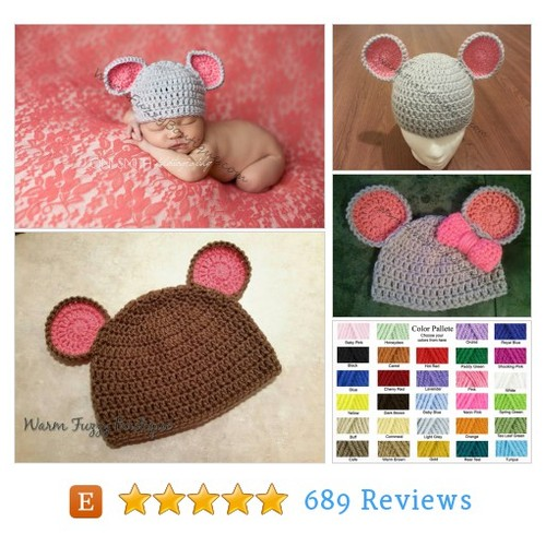 Baby Mouse Hat in Grey Pink - Newborn #etsy @warmfuzzyboutiq  #etsy #PromoteEtsy #PictureVideo @SharePicVideo