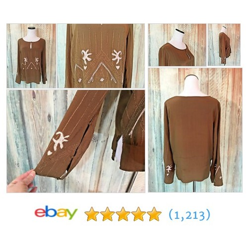 What Goes Around Comes Around Silk Blouse Brown Embroidery Keyhole LS #ebay @nursenancy4t https://www.SharePicVideo.com/?ref=PostPicVideoToTwitter-nursenancy4t #etsy #PromoteEbay #PictureVideo @SharePicVideo