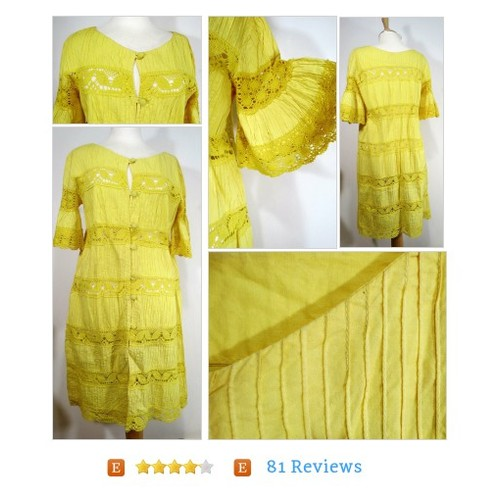 Vtg Medium Rosa Mexicano Yellow Lace Dress Cover Up Robe Pintuck Crocheted Lace #etsy #PromoteEtsy #PictureVideo @SharePicVideo