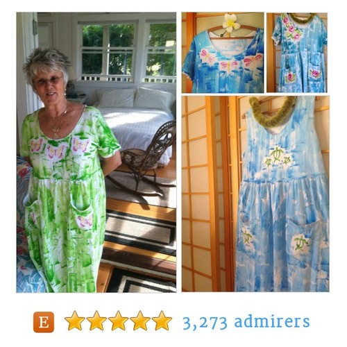 Hawaiian Hand Painted Cotton Pocket Plus Size Dress #mothersday #etsyfashion #etsymntt @HawaiiRT @DNR_CREW @FameRTs #etsy #PromoteEtsy #PictureVideo @SharePicVideo