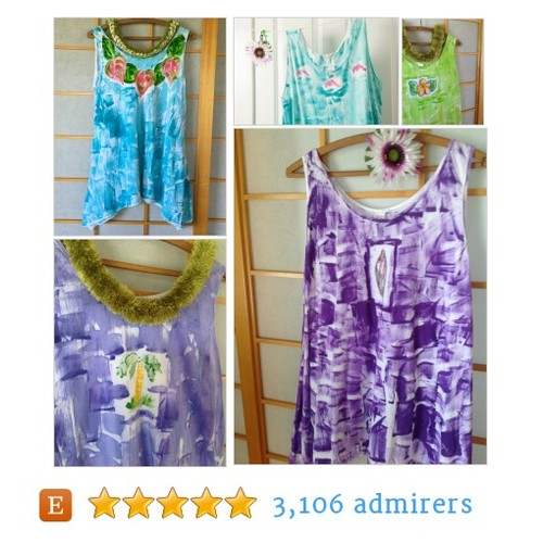 Hawaii Hand Painted Cotton Tunic #womanfashion #handmadehour #integritytt @QuickestRTs @MDFDRetweets @EarthRT  #etsy #PromoteEtsy #PictureVideo @SharePicVideo