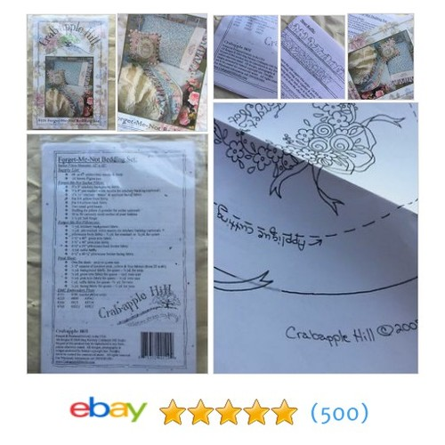 Forget Me Not Bedding Pillow Set Pattern To Quilt And Embroidery, #ebay @swoodruffs  #etsy #PromoteEbay #PictureVideo @SharePicVideo
