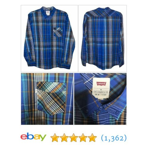 Levis Mens Long Sleeve Blue Plaid Long Sleeve Button Down Collar Shirt XL  | eBay #etsy #PromoteEbay #PictureVideo @SharePicVideo