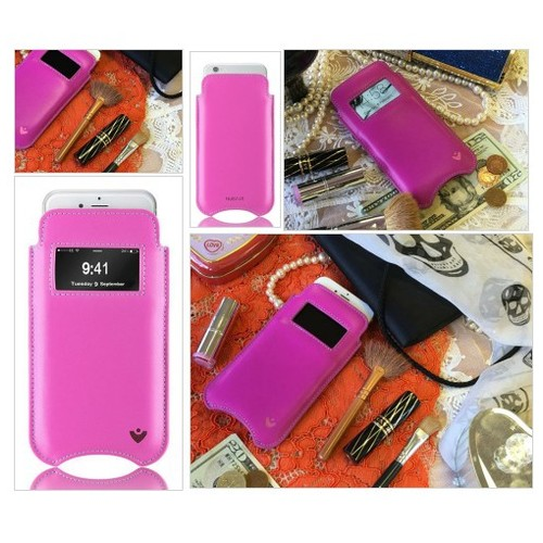 Pink Real Leather Screen Cleaning iPhone case @NUEVUEproducts #shopify  #socialselling #PromoteStore #PictureVideo @SharePicVideo