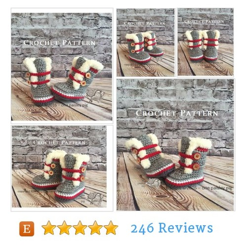 Work Sock Winter Booties - PDF CROCHET #etsy @onepaisleypig  #etsy #PromoteEtsy #PictureVideo @SharePicVideo