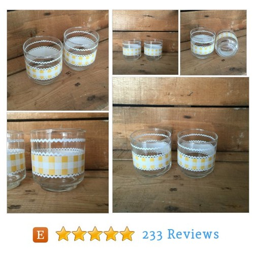 Libbey Glasses Yellow Gingham, Libbey Juice #etsy @vivaterravintag https://www.SharePicVideo.com/?ref=PostPicVideoToTwitter-vivaterravintag #etsy #PromoteEtsy #PictureVideo @SharePicVideo