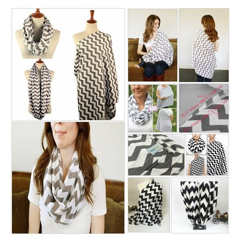 LIVEBOX# Extra #Long# Breast# Feeding #Infinity #Nursing #Scarf (Grey and White Chevron #socialselling #PromoteStore #PictureVideo @SharePicVideo