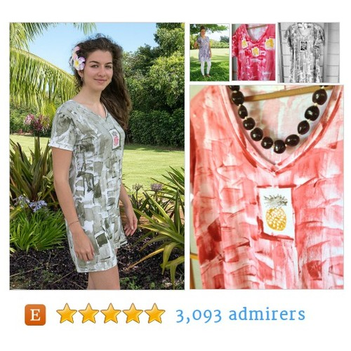 Short Sleeve #Dress Hawaii Hand Painted V Neck Dress #epiconetsy #integritytt #etsymntt @Retweet_Lobby @MDFDRetweets #etsy #PromoteEtsy #PictureVideo @SharePicVideo