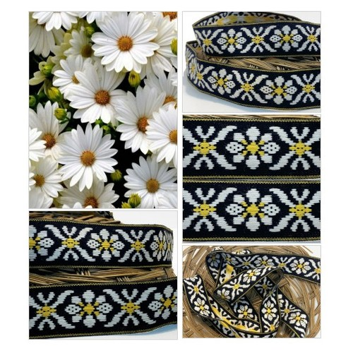 Woven Traditional Vintage Floral Ribbon Trim Embroidered White Yellow Flowers on Black Background Flat Braid #etsyspecialt #integritytt #SpecialTGIF #Specialtoo  #TMTinsta     @SaucyRTs   @RETWEETDNR  @FatalRTs @SGH_RTs  #vintagetrim #daiseytrim #etsy #PromoteEtsy #PictureVideo @SharePicVideo
