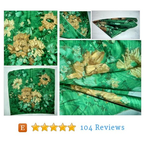 50s Hand Printed Floral Scarf Silk Green #etsy @mushkavintage3 https://www.SharePicVideo.com/?ref=PostPicVideoToTwitter-mushkavintage3 #etsy #PromoteEtsy #PictureVideo @SharePicVideo