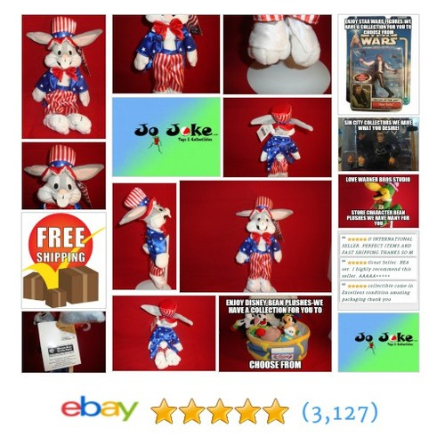 WARNER BROS STUDIO STORE-BUGS BUNNY UNCLE SAM-11 INCH BEAN PLUSH-NEW/TAGS-1999 | eBay #WARNERBROSSTUDIOSTORE ! #etsy #PromoteEbay #PictureVideo @SharePicVideo