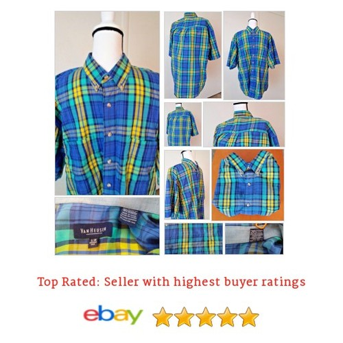 ShortSleeve #Blue #Plaid Size M #Shirt @eBay #VanHeusen #ButtonFront #yellow #etsy #PromoteEbay #PictureVideo @SharePicVideo