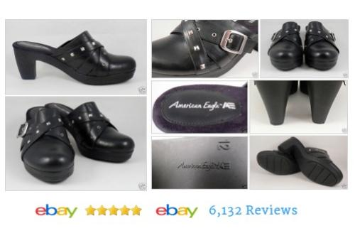 AMERICAN EAGLES Black Mules Sz 12 Studs Shoes Womens #Mule #Size12 #AmericanEagle #etsy #PromoteEbay #PictureVideo @SharePicVideo