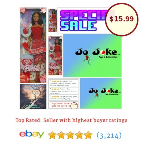 "BARBIE-WITH LOVE-GIRL OF COLOR-HEART NECKLACE-12""-WITH LOVE CARD-BRUSH-2005-NEW! 