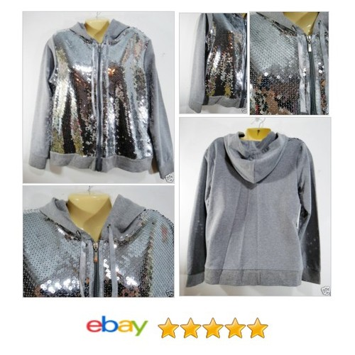 KAKTUS Kak tus Silver Sequins Women's #Hoodie Zip Front Sz Large Gray New Holiday | eBay #Kaktus #etsy #PromoteEbay #PictureVideo @SharePicVideo