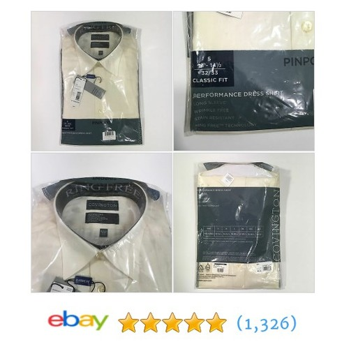 Men's Covington Natural Pinpoint Dress Shirt Long Sleeve Sm 14-14.5 32/33 #8016  | eBay #etsy #PromoteEbay #PictureVideo @SharePicVideo